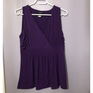 Torrid purple sleeveless wrap peplum top
